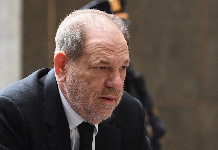 caption: Harvey Weinstein arrives at court last month in Manhattan.