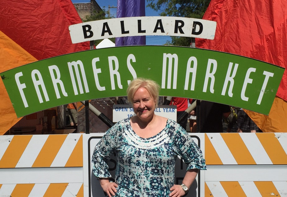 caption: Chef and mixologist Kathy Casey at the Ballard Farmers Market.