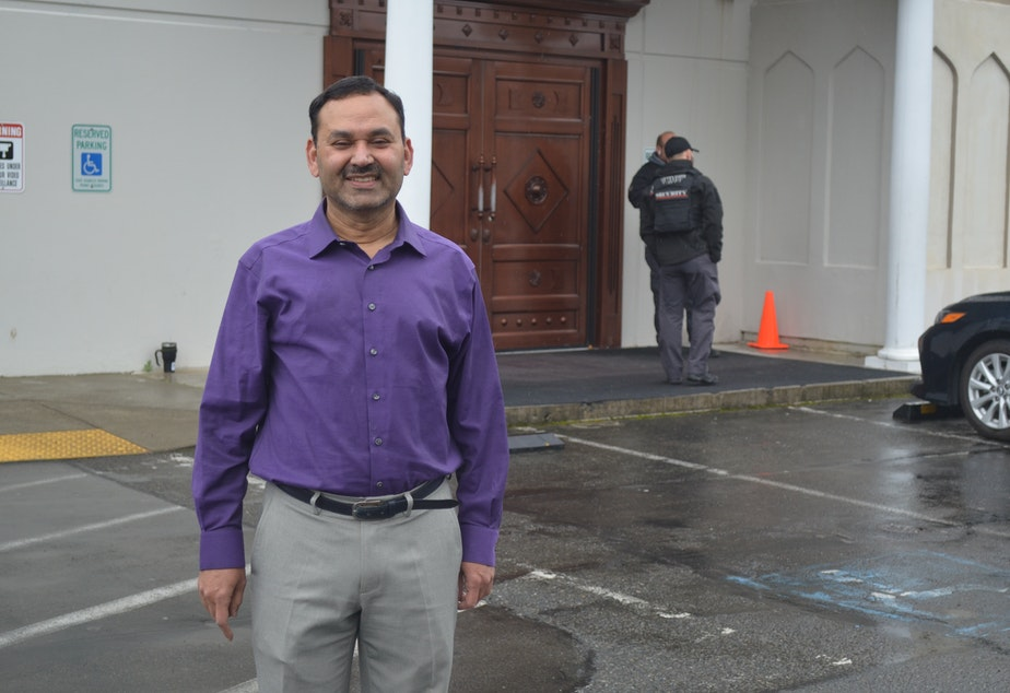"caption: President Hyder Ali at the Muslim Association of Puget Sound, a large mosque in Redmond. He says the decision was made to cancel prayers on Friday, March 6, 2020, because ""in Islam, the first principle is the sanctity of human life."""