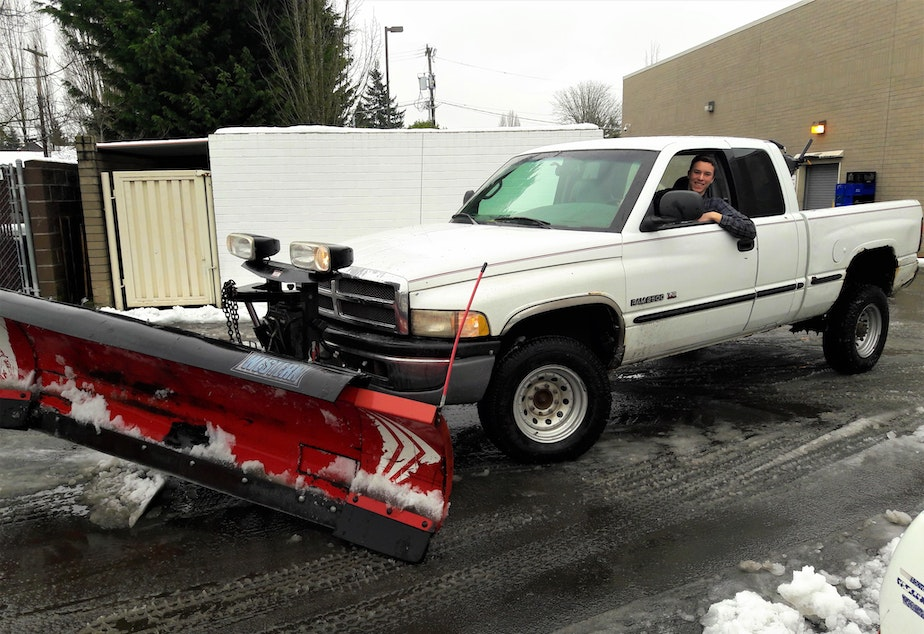 caption: David Holston's snow plow is remote controlled, 10-feet-wide, and weighs two tons. The hardest thing to plow Holston says slush.