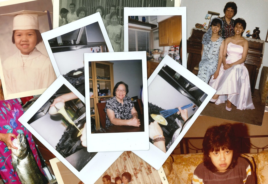 caption: A collage of photos from the lives of Erlinda Conde, Teresa Engrav and Charlotte Engrav, three generations of a Filipino American family in Seattle.