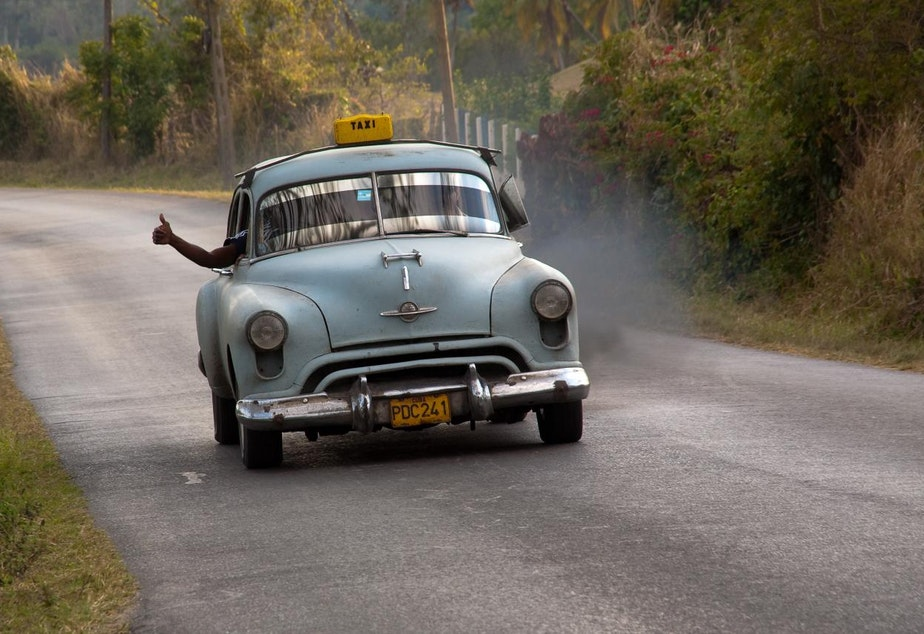 A taxi in Cuba. To American eyes, it's a vintage model, but the picture was taken in 2009.