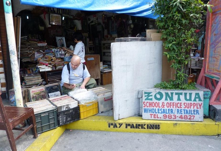 <p>Mikey Horteleza (DJ Grim) on the hunt for Filipino records in Manila.</p>