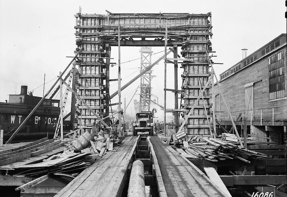 caption: Ballard Bridge south approach under construction, 1939