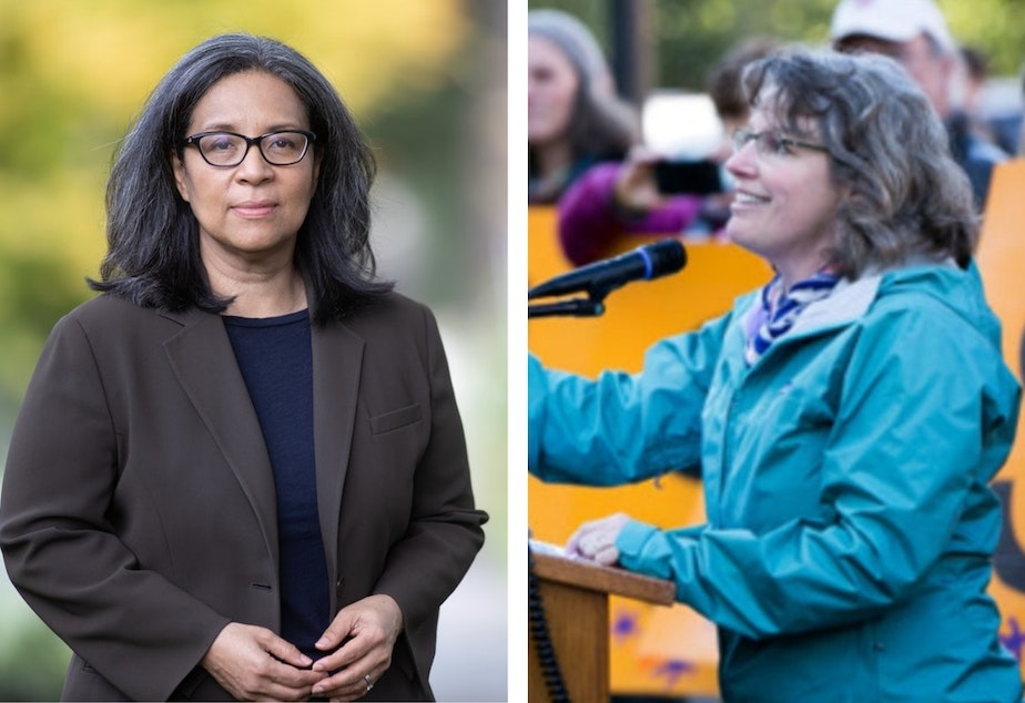 caption: Former Tacoma mayor and 10th Congressional District candidate Marilyn Strickland, and State Rep. Beth Doglio running for the 10th Congressional District.