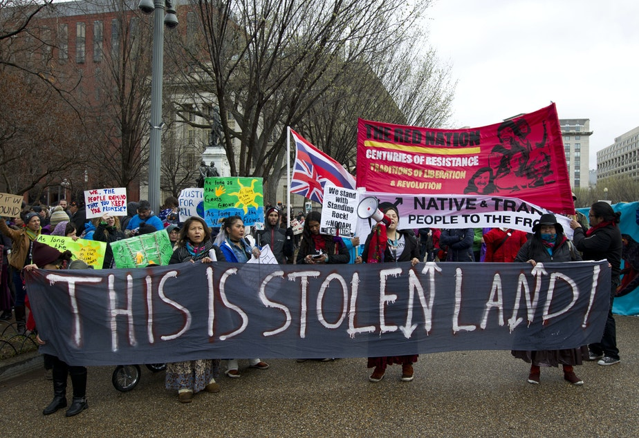 caption: Native American tribes and their supporters protested against the Dakota Access Pipeline. This rally was outside the White House in 2017.