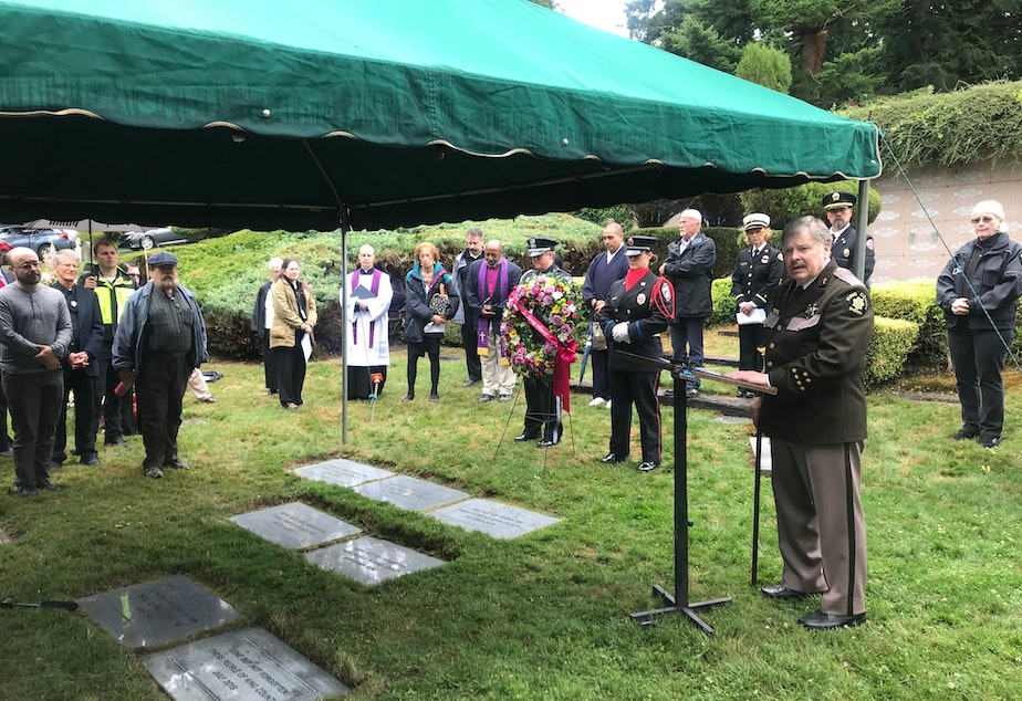 caption: The Indigent Remains Burial ceremony at Mt. Olivet Ceremony in Renton on July 10, 2019.