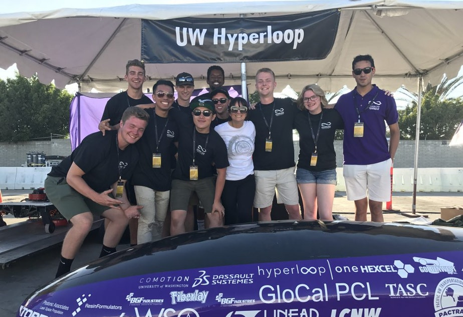 The University of Washington Hyperloop team with their pod at the SpaceX competition in California in 2017.