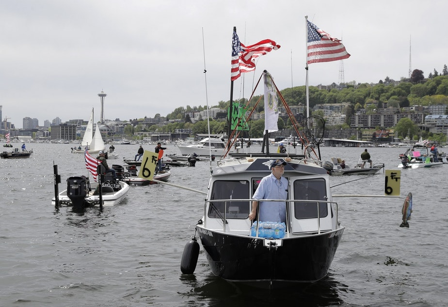 caption: A protester reels in a fake fish near poles marking a six-foot social distance on a boat on Lake Union near Gas Works Park in Seattle, Sunday, April 26, 2020, during a protest against Washington state's current ban on fishing due to stay-at-home orders implemented to prevent the spread of the coronavirus.