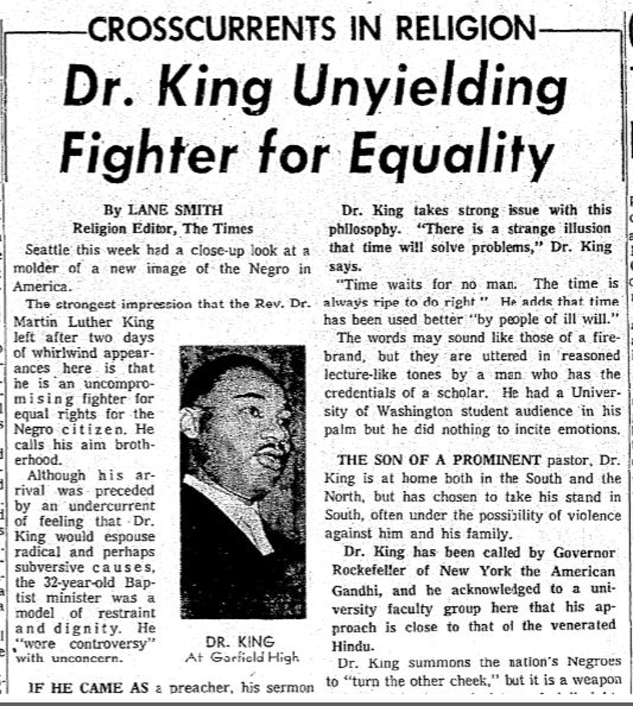 caption: Martin Luther King Jr. Seattle Times Lane Smith 1961