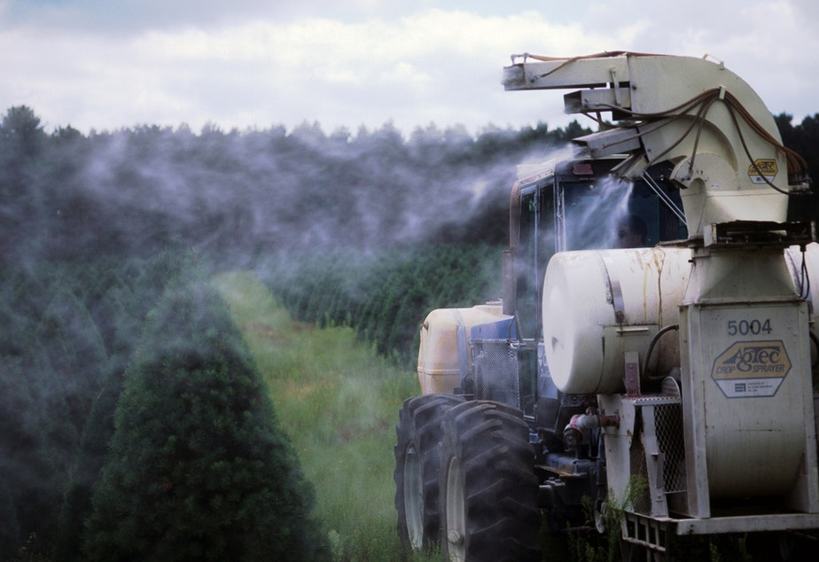 Machinery spraying pesticide on rows of Christmas trees at tree farm near Wautoma, Wis., in 2011.