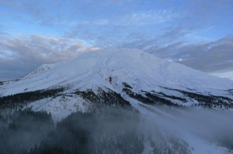 The southwest side of Mount St. Helens as viewed from a USGS helicopter crew.