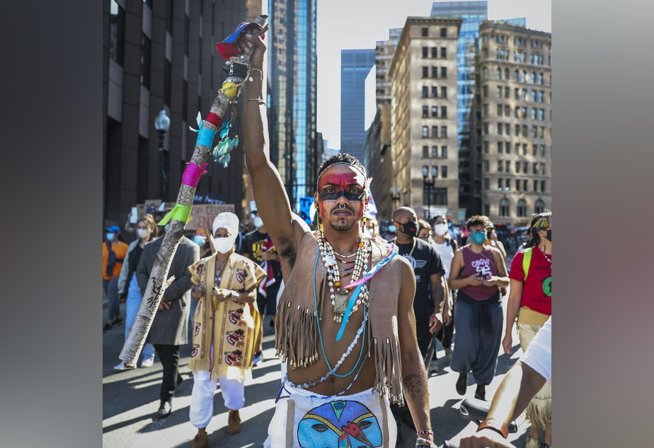 caption: Protesters marched in an Indigenous Peoples Day rally in Boston on Oct. 10, 2020, as part of a demonstration to change Columbus Day to Indigenous Peoples' Day. Boston made that change last week.