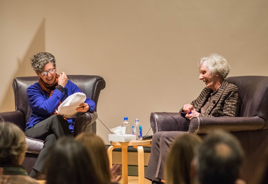 caption: KUOW's Marcie Sillman interviews Virginia Wright at the Seattle Art Museum in 2016.
