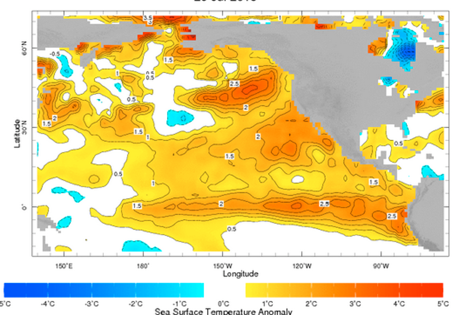 'The Blog' is indicated by dark orange on the West Coast of the U.S. The Blob is a patch of warm water that was detected by a University of Washington climatologist in 2013.
