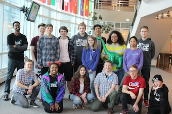 Participants and mentors in RadioActive's April 2018 radio storytelling workshop for teens at WSU in the Tri-Cities, in partnership with NW Public Broadcasting.