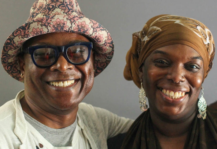 caption: Beau McCall (left) and Julaina Glass spoke for a StoryCorps interview in 2017 about how their relationship has blossomed over the years — from distant neighbors to close friends.