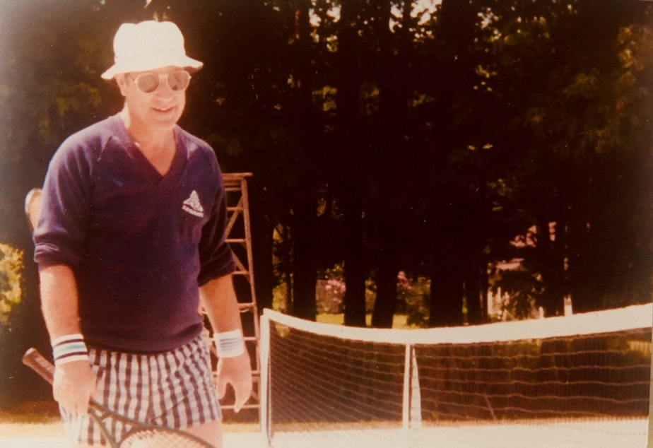 caption: Leslie Snapp was an avid tennis player; he played until he was 90, said daughter in law Lisa Vizzini.