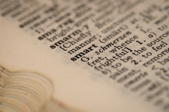 Closeup of a dictionary page.