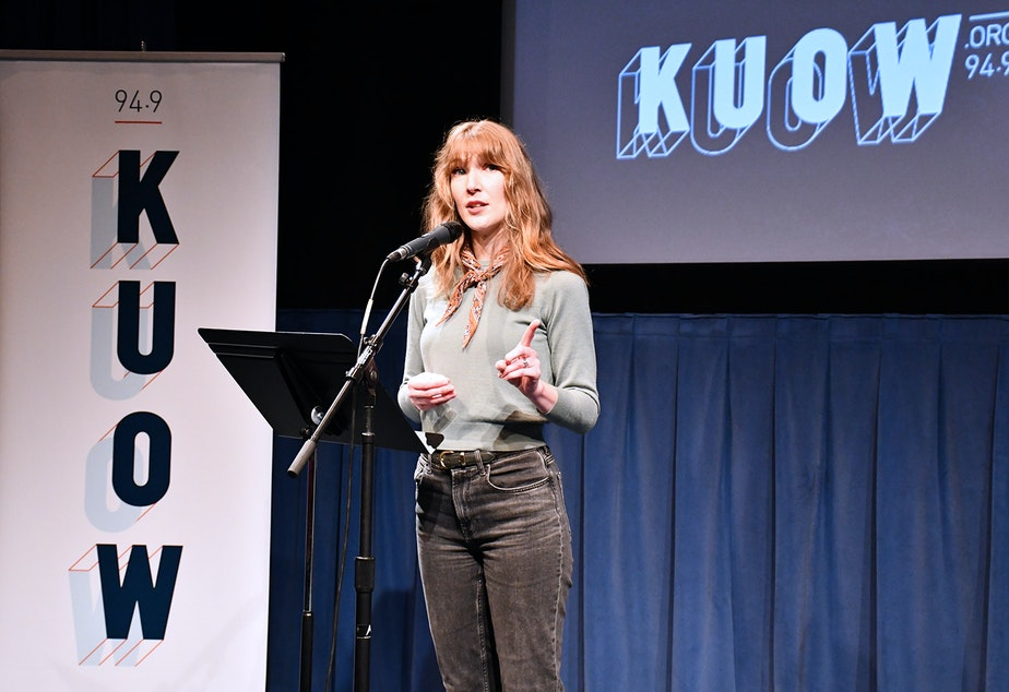 Ylfa Muindi performs her story at KUOW's Stories from the Wild event on Friday, October 11, 2019 at McCaw Hall in Seattle.