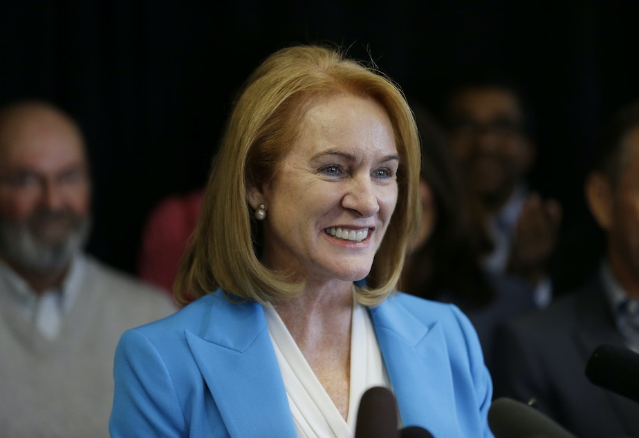 caption: Jenny Durkan, a former U.S. Attorney, announces her candidacy for Mayor of Seattle