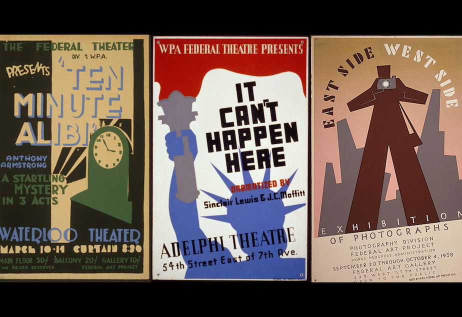 caption: Posters used to promote arts and cultural events through the WPA.