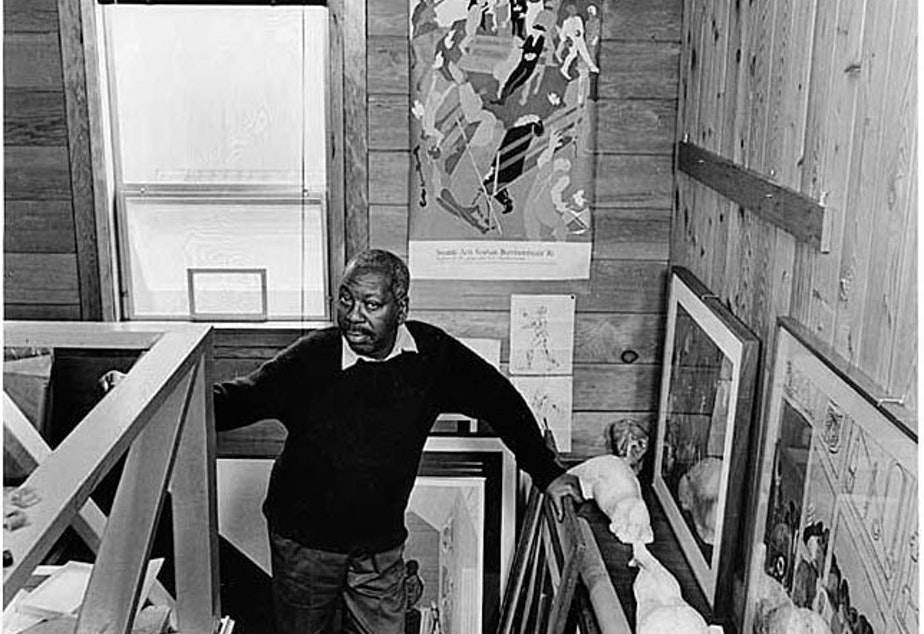 caption: Jacob Lawrence in the Studio, 1983