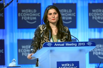 Sharmeen Obaid Chinoy, documentary filmmaker at SOC Films, talks during the Crystal Award Ceremony Exploring Arts in Society' at the Annual Meeting 2013 of the World Economic Forum in Davos, Switzerland, January 22, 2013.