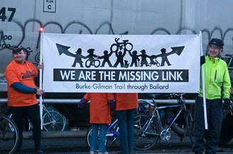 Supporters of completing the missing link rally in support of the project in 2009.