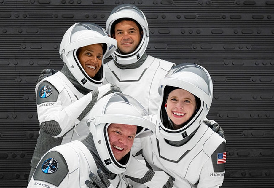 caption: Clockwise from left Dr. Sian Proctor, Jared Isaacman, Hayley Arceneaux and Chris Sembroski, crew members on the Inspiration4 space mission.