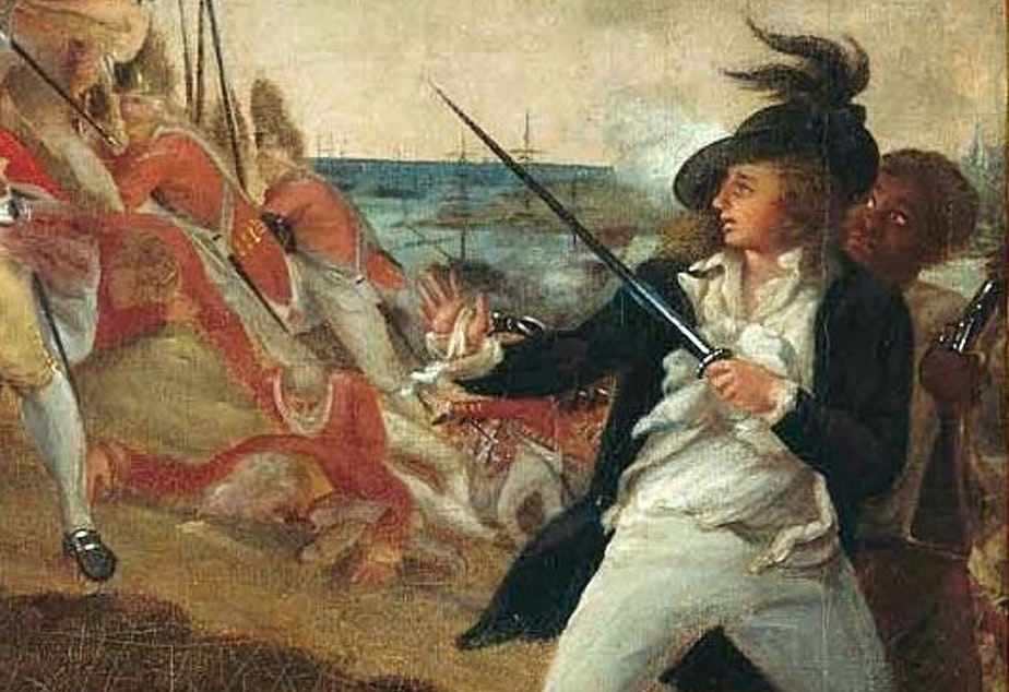 caption: John Trumbull's painting <em>The Death of General Warren at the Battle of Bunker Hill</em>. Peter Salem is thought to be the figure in the lower right.