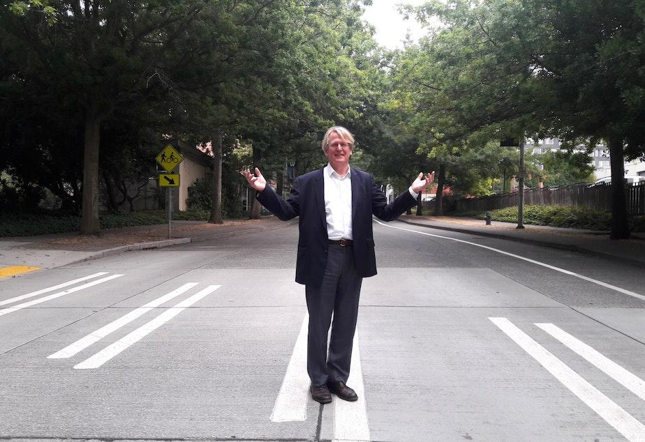 Steve Moddemeyer on Brooklyn Avenue in Seattle's U-District.