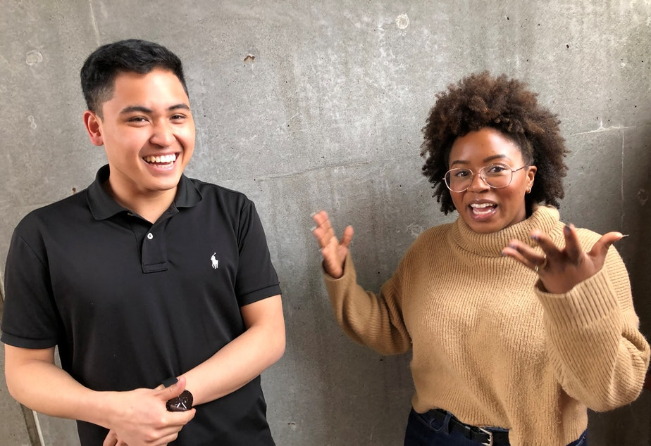 caption: KUOW Curiosity Club members Joe Santiago and Ishea Brown talk after recording a follow-up conversation at KUOW Public Radio in Seattle. March 25, 2019.