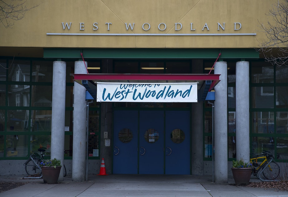 caption: West Woodland Elementary School is shown on Wednesday, February 12, 2020, in Seattle.