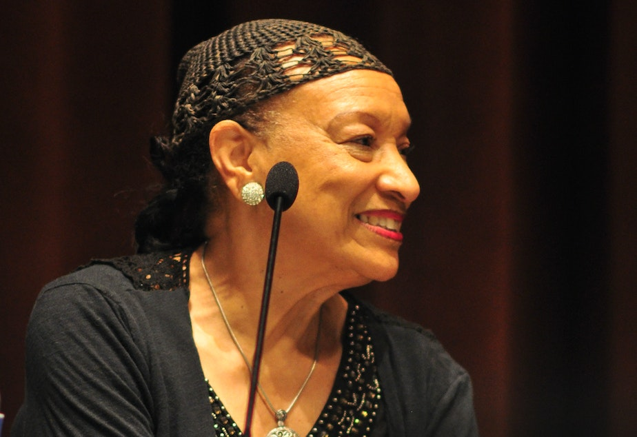 "Patrinell ""Pat"" Wright, founder of Seattle's Total Experience Gospel Choir, at the central library, Seattle, Washington on a panel after a presentation of the documentary Wheedle's Groove in 2016."