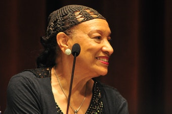 """Patrinell """"Pat"""" Wright, founder of Seattle's Total Experience Gospel Choir, at the central library, Seattle, Washington on a panel after a presentation of the documentary Wheedle's Groove in 2016."""