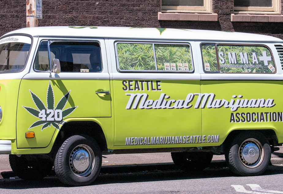 caption: Seattle Medical Marijuana van, usually parked outside a dispensary on Fremont Avenue near the Woodland Park Zoo. Tensions have mounted between medical marijuana entities and state-licensed pot shops.