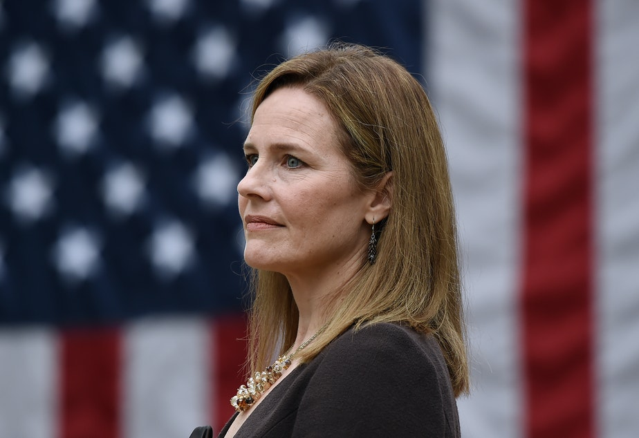 caption: Judge Amy Coney Barrett, pictured at the White House on Sept. 26, is President Trump's Supreme Court nominee — and she has gun control groups worried.