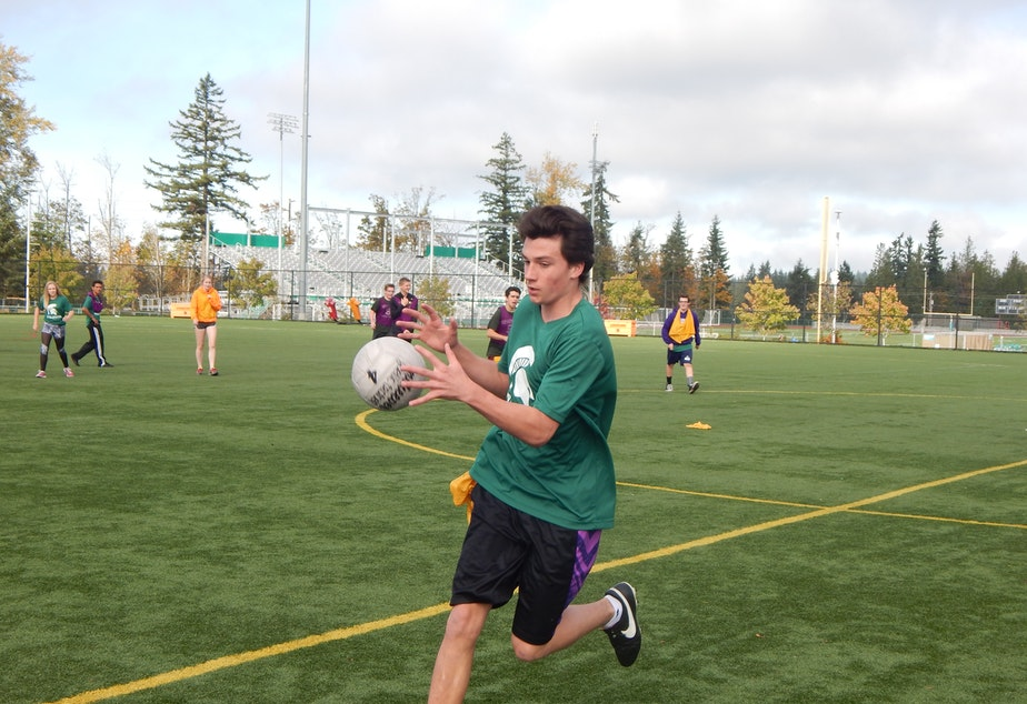 caption: Students at Skyline High School in Sammamish play Gaelic football, which looks a lot like soccer -- until you catch the ball with your hands.