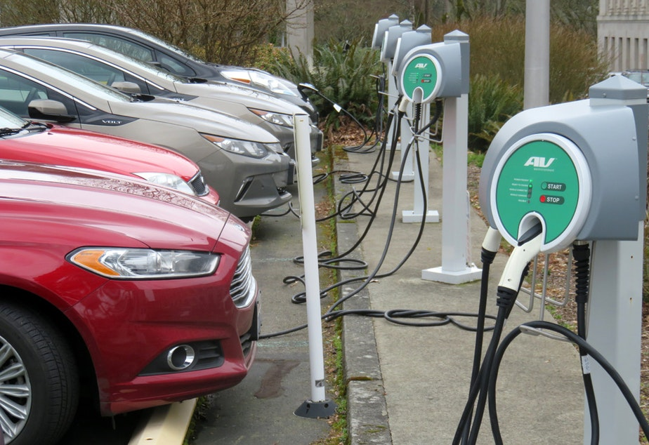 caption: Electric cars would be billed two cents per mile in state tax under a proposal discussed in the Washington State Senate Thursday.