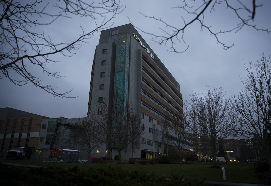 caption: The EvergreenHealth Medical Center is shown on Monday, March 2, 2020, in Kirkland.