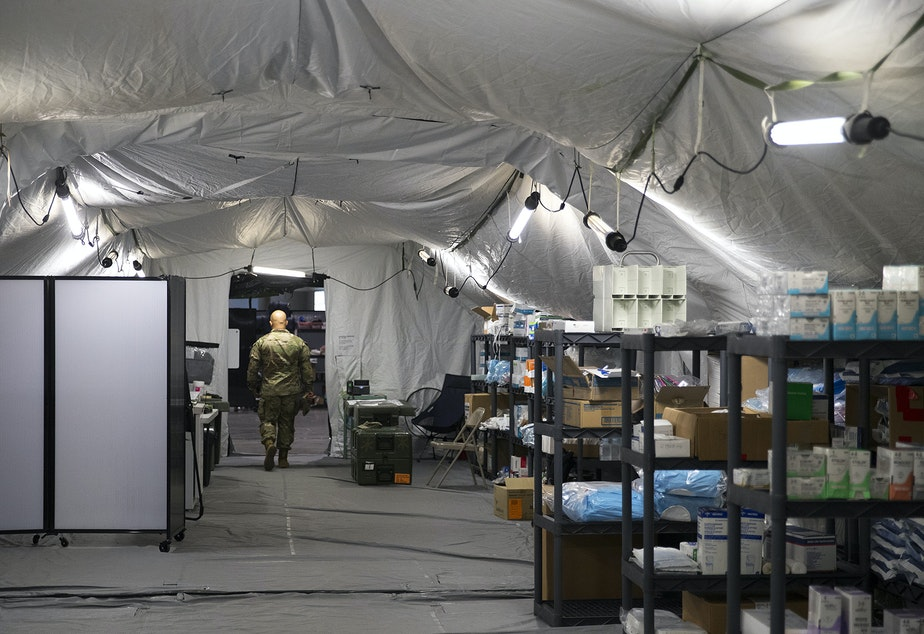 caption: Surgical supplies are shown in the operating area of a military field hospital inside CenturyLink Field Event Center on Sunday, April 5, 2020, in Seattle. The 250-bed hospital for non COVID-19 patients was deployed by soldiers from the 627th Army Hospital from Fort Carson, Colorado, as well as soldiers from Joint Base Lewis-McChord.