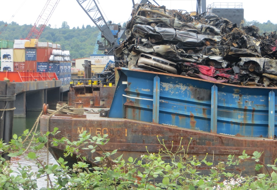 Canadian scrap cars on a barge on June 27, 2018, a day after the barge spilled flaming cars into Seattle's Duwamish Waterway.