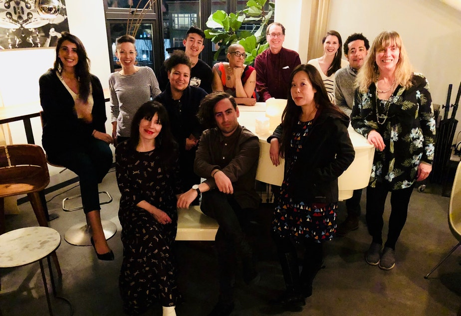 Curiosity Club's first cohort at The Cloud Room in Seattle after their second dinner on February 21, 2019. From left, back row: Sofia Locklear, KUOW producer Kristin Leong, Mellina White Cusack, Jin Park, Sharlese Metcalf, KUOW executive producer Ross Reynolds, KUOW reporter Kate Walers, James Miles. Front row, from left: Amanda Carter Gomes, Erik Molano, Shin Yu Pai, Jennifer Hegeman.