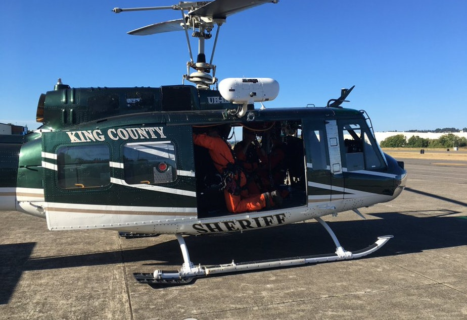 caption: King County Sheriff Office's Guardian 2 chopper. On Aug. 14, it was dispatched to rescue and injured hiker near Surprise Lake in King County.