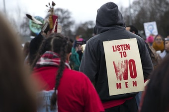 Women's March at Cal Anderson Park on Saturday, January 20, 2018, in Seattle.