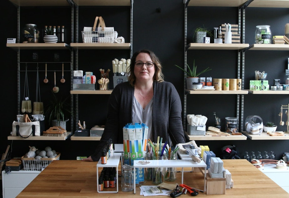caption: Jolene Dobson runs Public Supply Goods, a store catering to the plastic free movement. She currently has no other employees.