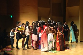 A crowd gathers to congratulate the newly crowned Miss Hoa Khoi Lien Truong 2017