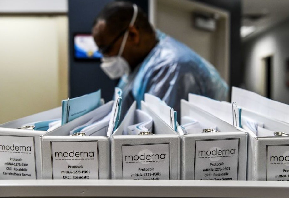 caption: Biotechnology company Moderna protocol files for COVID-19 vaccinations are kept at the Research Centers of America in Hollywood, Florida, on August 13, 2020.