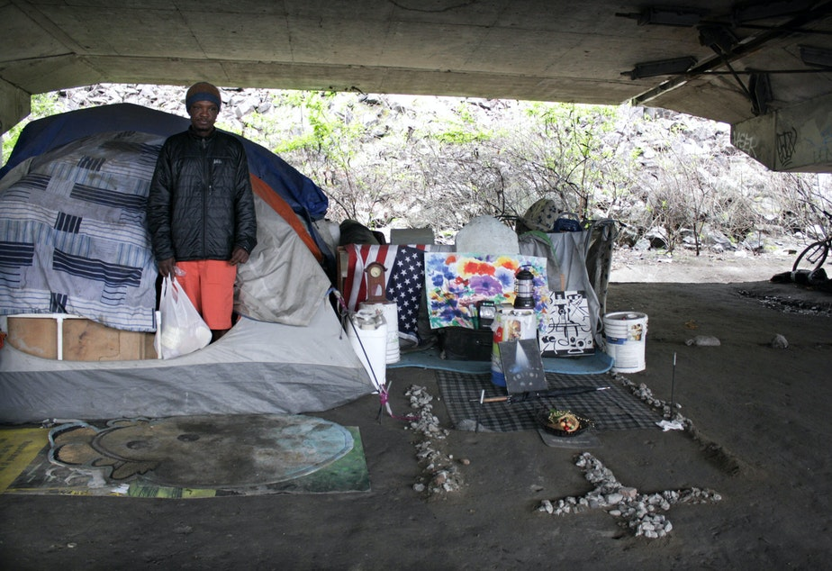 A resident of the Jungle, a three-mile stretch under Interstate 5 where about 400 people live.